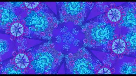 peyote : Colorful Kaleidoscopic Video Background. Colorful kaleidoscopic patterns. Zoom in rainbow color circle design. Or for events and clubsmedallion, yoga, india, arabic, mandala, fractal animation Stock Footage