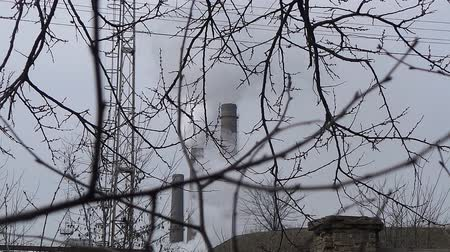 industrialization : Smokestacks polluted air at industrial factory
