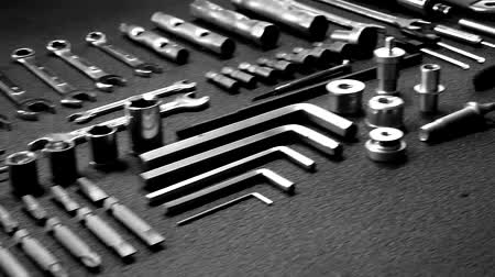hexágono : Hardware tools set out in order isolated crane video Stock Footage