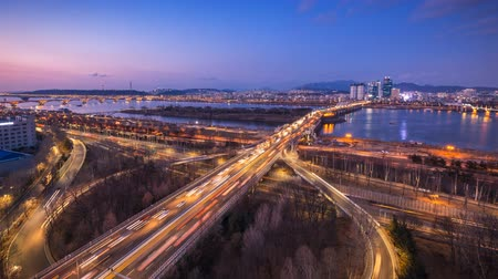 han river : seoul city and bridges and Han river, Seoul, Korea.