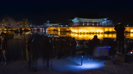 павильон : Gyeongju, South Korea - January 13, 2018: Gyeongju travel Donggung Palace, Pavilion in Anapji lake at night . Gyeongju, South Korea. Стоковые видеозаписи
