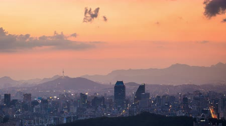 seoul : Beautiful cityscape in sunset of Seoul, South Korea, Seoul tower modern building and architecture in Downtown Seoul. Timelapse.
