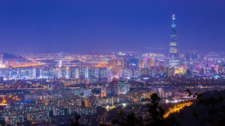 han river : Beautiful seoul city at night, Seoul tower modern building and architecture at nighttime