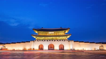 gyeongbokgung : Gyeongbokgung Palace at night and traffic in seoul city, south korea, 4K Timelapse.