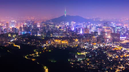 abeceda : Seoul city with Seoul tower modern building and architecture at nighttime,  South Korea. Dostupné videozáznamy