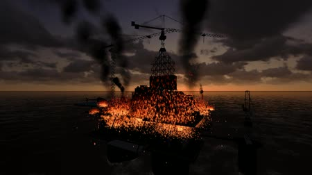 oil industry : Animation, Offshore oil platform caught fire.Stock video: