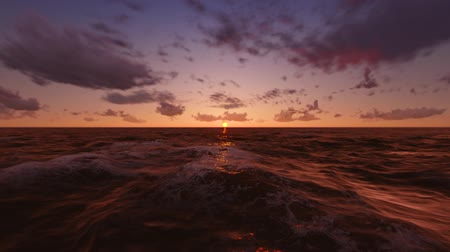закат : Flying over Sea, Time Lapse Sunset and Clouds