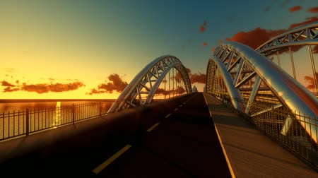 moderní : modern bridge architecture. epic sunset dusk. panorama landscape.