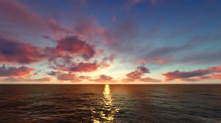 rudé moře : Flying over Sea, Time Lapse Sunset and Clouds