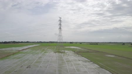 tahıllar : aerial moving into high voltage electricity pylon in the farmland Stok Video