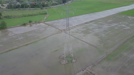 pólus : aerial view moving circle around high voltage electricity pylon in farmland Thailand Stock mozgókép
