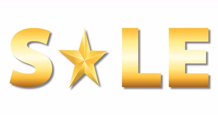 szlogen : gold colored sale word with rotation star isolated on white background, 4k stock video loop footage design element for luxury holiday