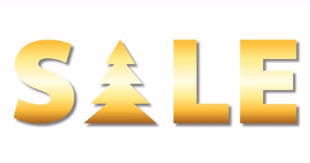 szlogen : gold colored sale text with rotation christmas tree isolated on white background, luxury holiday lettering, 4k stock video loop footage design element