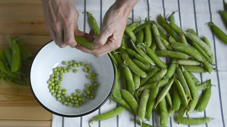 шелуха : mans hand taking fresh ripe green pea bean from pile on striped napkin, shelling, putting peas into metal bowl pod husk on wood table, top view of closeup full hd stock video footage in real time