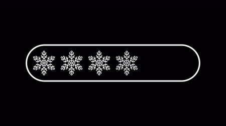tampon : flat transparent white snowflakes as downloading bar progress indicator, loopable 4k stock video footage, motion graphic animation, design element on black alpha channel background
