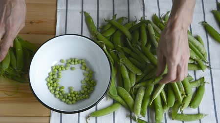 bezelye : mans hand takes green pea bean from stack, opens and shows fresh ripe pease seeds, puts peas into metal bowl pod husk on wooden table, top view of closeup full hd stock video footage in real time