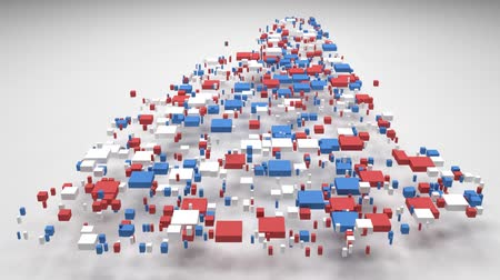 render : Map New Hampshire - USA | 3D Fall down of little bricks - Flag colors