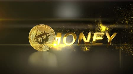 monety : Golden business text with gold particle on a luxury background