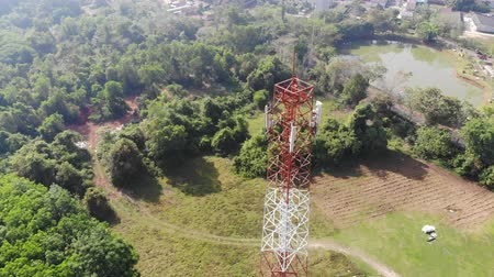 Aerial view scenic of Communication tower in suburb area Stock mozgókép