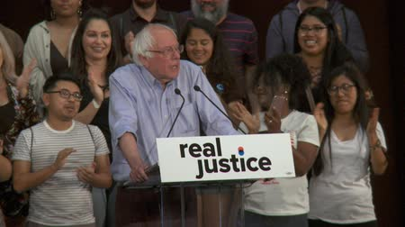 Bernie Sanders Smiles. Bernie Sanders speechless as the crowd cheers. June 2nd, 2018 at the Rally for Justice in downtown Los Angeles, California.