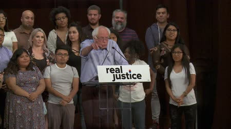 president of united states : ITS ALL OF US TOGETHER. Bernie Sanders gives credit to the crowd. June 2nd, 2018 at the Rally for Justice in downtown Los Angeles, California. Stock Footage