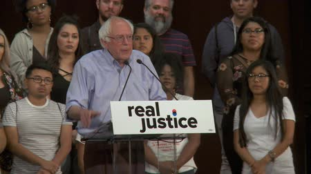BROKEN CRIMINAL JUSTICE SYSTEM. Bernie Sanders talks about this nation finally paying attention to these problems. June 2nd, 2018 at the Rally for Justice in downtown Los Angeles, California. Stock Footage