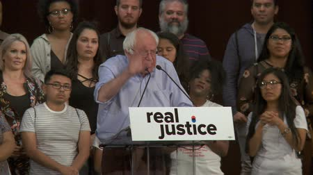 2 MILLION PEOPLE IN JAIL. Bernie Sanders cites statistics, US having jailed more than China. June 2nd, 2018 at the Rally for Justice in downtown Los Angeles, California. Stock Footage