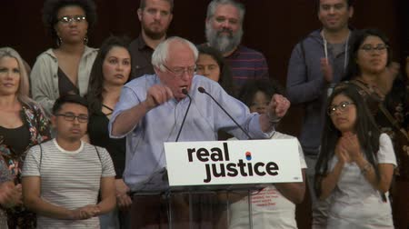 LIBERTY AND JUSTICE. Bernie Sanders wants liberty and Justice for Americans. June 2nd, 2018 at the Rally for Justice in downtown Los Angeles, California. Stock Footage