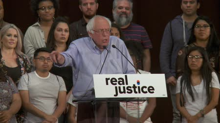 Multiple SYSTEMS OF JUSTICE. Bernie Sanders talks about the differences how the rich and poor are prosecuted. June 2nd, 2018 at the Rally for Justice in downtown Los Angeles, California. Stock Footage