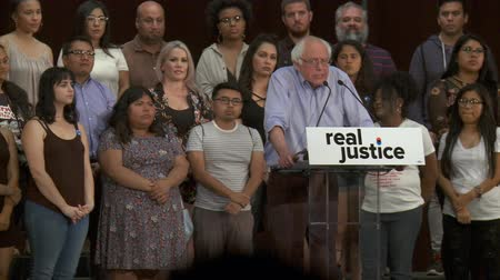 election campaign : Criminal Justice Disparity. Bernie Sanders on how the justice system affects white, black, brown, or Native American people. June 2nd, 2018, the Rally for Justice in downtown Los Angeles, California.