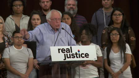 California Voters Lead Country. Bernie Sanders motivates voters for change. June 2nd, 2018 at the Rally for Justice in downtown Los Angeles, California.