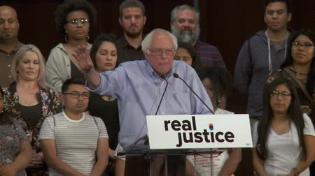 CRIME OF BEING POOR. Bernie Sanders comments on inequality of the justice system. June 2nd, 2018 at the Rally for Justice in downtown Los Angeles, California. Stock Footage