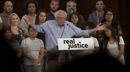 Deptors Prisons. Bernie Sanders recalls Charles Dickens books revelant today. June 2nd, 2018 at the Rally for Justice in downtown Los Angeles, California. Stock Footage