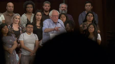 president of united states : LOST OPPORTUNITIES. Bernie Sanders asks how the war on drugs affect jobs and education. June 2nd, 2018 at the Rally for Justice in downtown Los Angeles, California. Stock Footage