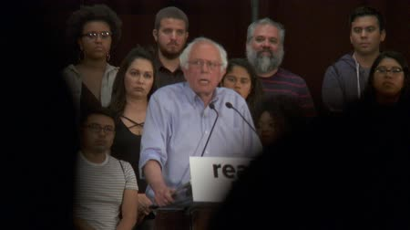 president of united states : LIMITED EDUCATION. Bernie Sanders speaks about majority of people in jail. June 2nd, 2018 at the Rally for Justice in downtown Los Angeles, California.