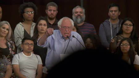 election campaign : HELL OF A LOT OF MONEY. Bernie Sanders cites cost of locking people up versus education. June 2nd, 2018 at the Rally for Justice in downtown Los Angeles, California. Stock Footage