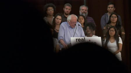 president of united states : Mental Health Stats. Bernie Sanders cites inmate statistics. June 2nd, 2018 at the Rally for Justice in downtown Los Angeles, California. Stock Footage