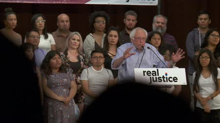 president of united states : Mental Health Inmates. Bernie Sanders urges to help deal with issues, not lock them up. June 2nd, 2018 at the Rally for Justice in downtown Los Angeles, California. Stock Footage