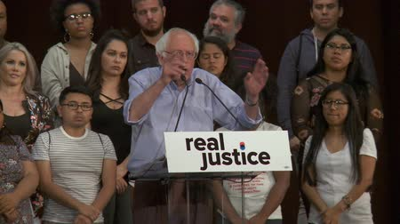 president of united states : SAD STATE OF AFFAIRS. Bernie Sanders comments on poor police training. June 2nd, 2018 at the Rally for Justice in downtown Los Angeles, California.