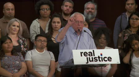president of united states : CONTINUE TO GO FORWARD. Bernie Sanders pushes forward on the criminal justice issues. June 2nd, 2018 at the Rally for Justice in downtown Los Angeles, California. Stock Footage