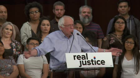 election campaign : Sanders HUMBLED. Bernie Sanders, very long way to go on the issues. June 2nd, 2018 at the Rally for Justice in downtown Los Angeles, California.