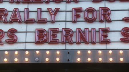 rali : Bernie Sanders Marquee. Sign above the venue on June 2nd, 2018 at the Rally for Justice in downtown Los Angeles, California.