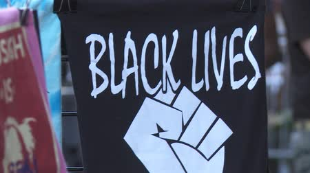 election campaign : BLACK LIVES MATTER T-Shirt, Close. Merchandise for sale on June 2nd, 2018 at the Rally for Justice with Bernie Sanders in downtown Los Angeles, California.