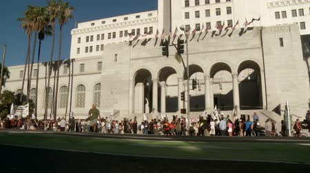 blm : Across Rally at LA City Hall. Days after the George Zimmerman trial ended, a rally is held at City Hall in downtown Los Angeles, California on July 16th, 2013. Stock Footage