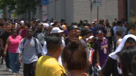 fanatics : Sea of Laker Fans. People starting to spread and clear the area following the 2010 LA   Lakers Championship parade on June 21st, 2010, Los Angeles, California.