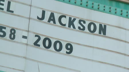 Michael Jackson 1958-2009. The Roosevelt Hotel in Hollywood pays tribute to Michael Jackson the day after his death in Los Angeles, California on June 26th, 2009. Stock Footage