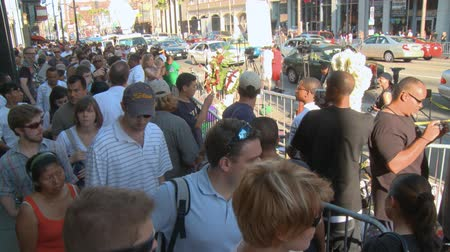 Jackson Fans on Walk of Fame. Fans gather to remember Michael Jackson at his star on the Hollywood Walk of Fame three days after his death in Los Angeles, California on June 26th, 2009.