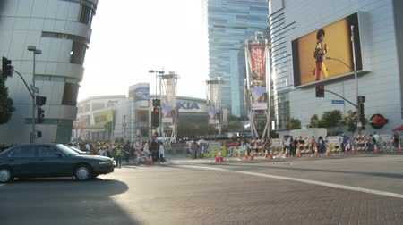 Jackson Memorial at Staples Center, Zooms. Zoom in and out to a jumbotron uutside Michael Jacksons memorial service at LA LiveStaples Center in downtown Los Angeles, California on July 7th, 2009. Stock Footage