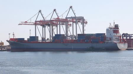 industry : Ship to unload at a sea port. Odessa, Ukraine Stock Footage