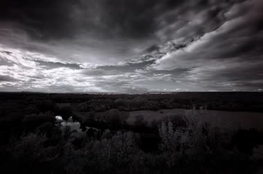 natural world : 4K. InfraRed landscape: Movement of clouds over the river Seversky Donets. Donetsk region, Ukraine (timelapse). FULL HD, 4096x2730. Hoya R72 IR filter Stock Footage